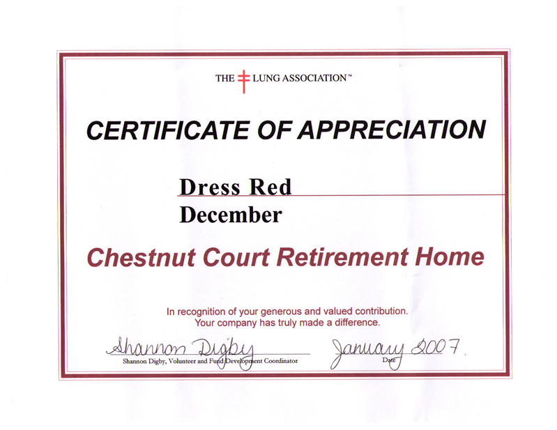 "Certificate of Appreciation for ""Dress Red December"" (The Lung Association)"