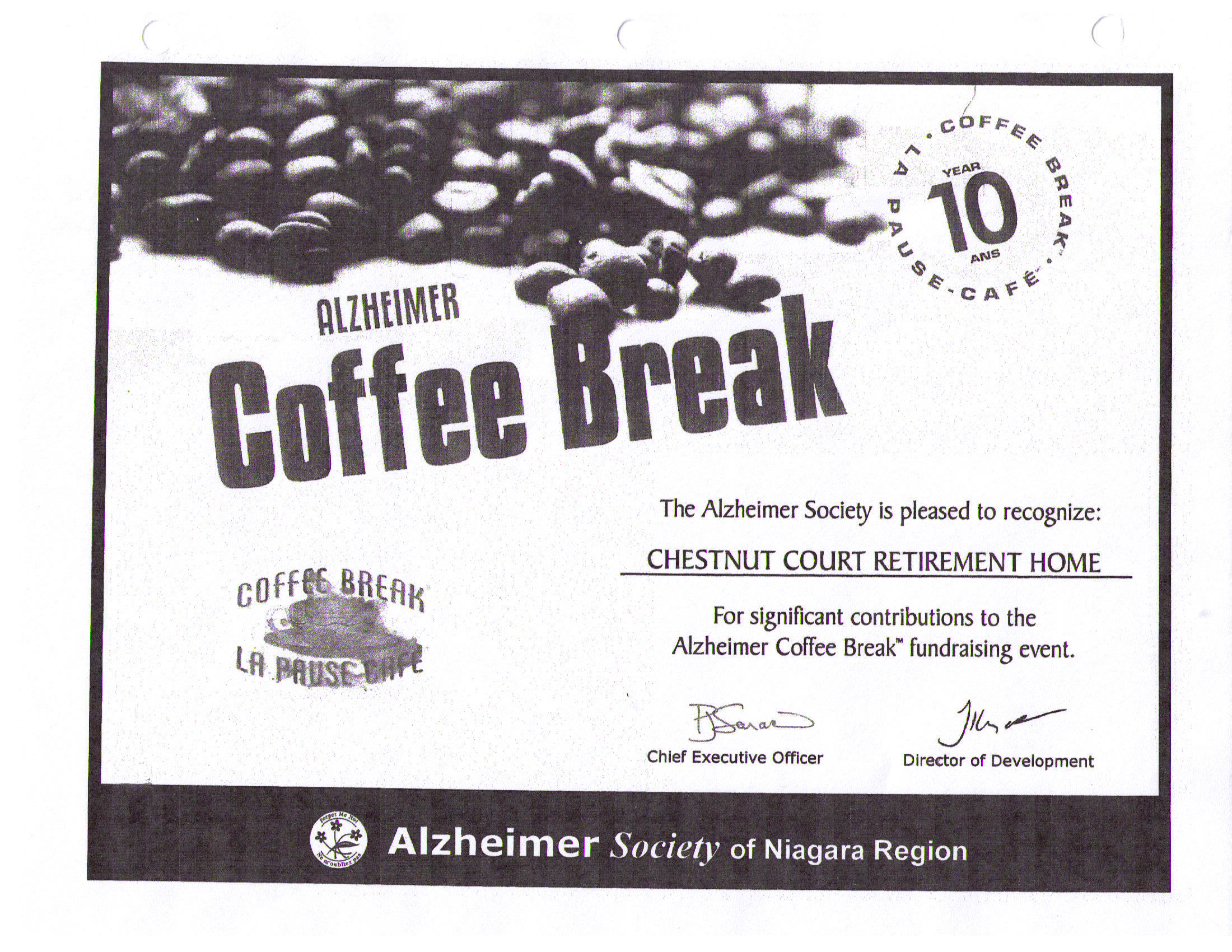 "Certificate of Appreciation for ""Alzheimer Coffee Break"" (Alzheimer Society of Niagara)"
