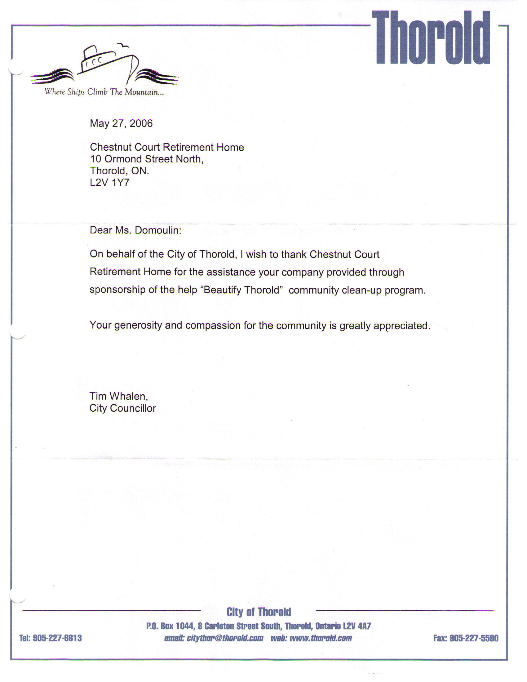 "Letter of Appreciation for sponsorhip of ""Beautify Thorold"" (City of Thorold)"