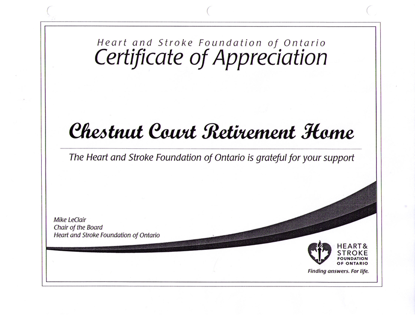 Certificate of Appreciation (Heart & Stroke Foundation of Ontario)