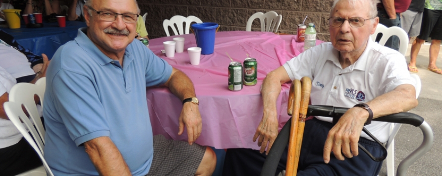 Mayor of Thorold,  with his brother at the family BBQ.